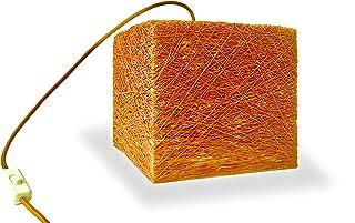 Lámpara de sobremesa cubo naranja decorativa de hilo de algodón, artesanal, hecha a mano 20x20 cms. TABLE CUBE