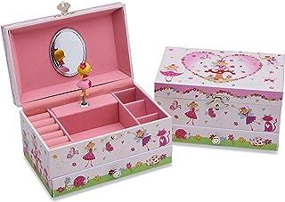 Lucy Locket Portagioie 'Fantina Magica' (portagioie, carillon musicale, scatola regalo per bambini) - Rosa glitterato Cari...