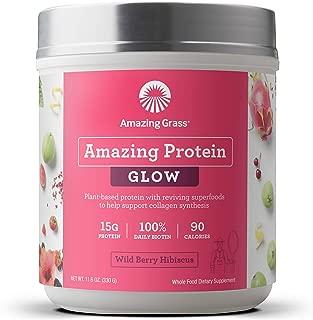 Amazing Grass GLOW Vegan Protein Powder: Organic Plant Based Collagen Support Protein Powder with Biotin Supplements, Wild Berry Hibiscus Flavor, 11.6 Ounce