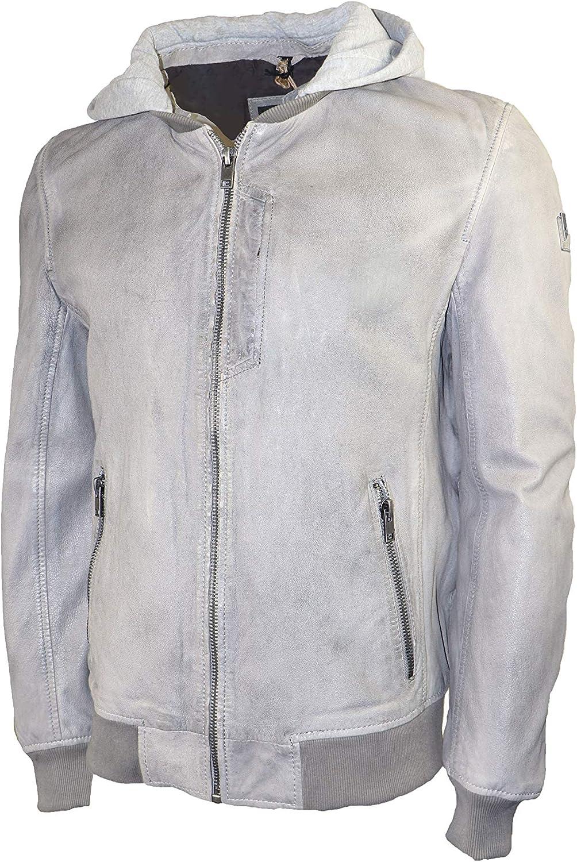 Mauritius Men's Hooded Leather Jacket