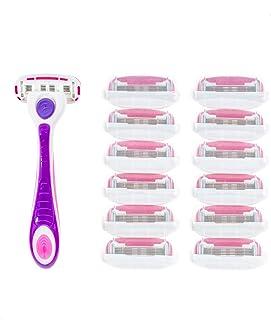 Personna Women's 5 Blade Razor System - Women's Shaving Razors - Razor Handle with 12 Replacement Cartridges