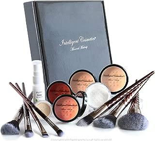 LIGHT SKIN Mineral Powder Makeup Kit 14 Piece COMPLETE SET Includes 2 Foundation, Veil, Bronzer, Highlighter, Concealer, Primer & Professional Brush Set