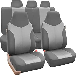 FH Group FB101115 Supreme Twill Fabric High-Back Full Set Car Seat Covers, Airbag and Split Ready, Light/Dark Gray Color- Fit Most Car, Truck, SUV, or Van