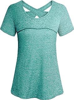 Cucuchy Womens Yoga Top Short Sleeve Crew Neck Criss Cross Back Workout Shirts
