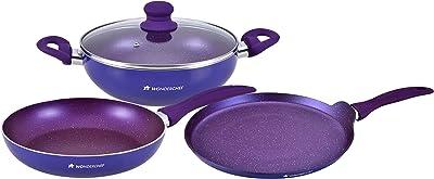 Wonderchef Blueberry Aluminium Nonstick Cookware Set, 4Pc, Blue
