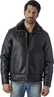 REED Men's B-3 Bomber Jacket Shearling Style Coat