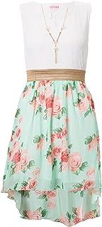 6def560c6dd3e Filles Feuille imprimé floral d or robe en mousseline de ceinture Âge 3-13