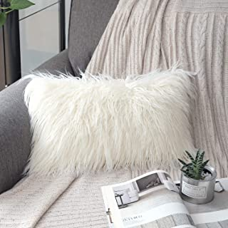 Phantoscope Luxury Series Throw Pillow Covers Faux Fur Mongolian Style Plush Cushion Case for Couch Bed and Chair, Off White 12 x 20 inches 30 x 50 cm