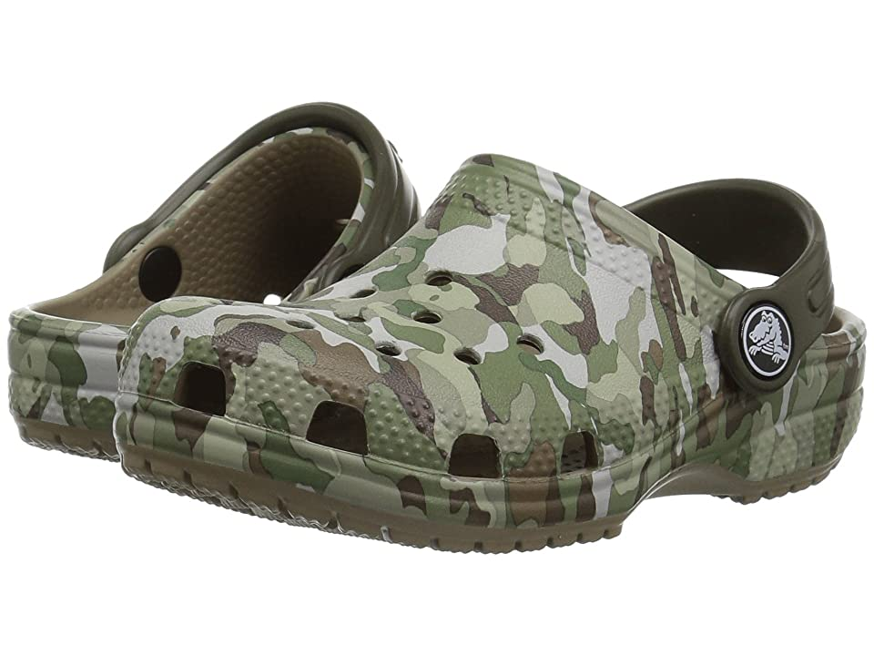 Crocs Kids Classic Graphic Clog (Toddler/Little Kid) (Khaki) Kids Shoes