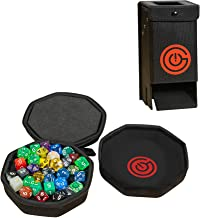 GEEKON Protective Dice Case (Black) & Nesting Dice Tray with Folding Dice Tower for Boardgames and RPG's!
