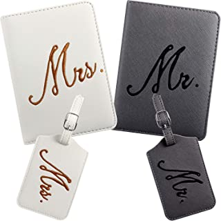 2 Pieces Mr and Mrs Bridal Luggage Tags and Passport Covers (White, Gray)