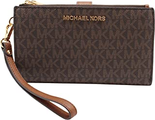 Michael Kors Jet Set Travel Double Zip Wristlet - Signature PVC (Brown PVC/Dark Acorn)