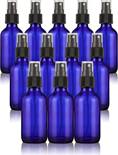 Misting Spray Glass Bottle - 12-Pack Fine Mist Bottles with Atomizer Pumps Sprayer and Cap - Refillable and Reusable Empty Glass Bottles for Essential Oils, Perfumes, Cleaners, Travel - Blue, 2 oz