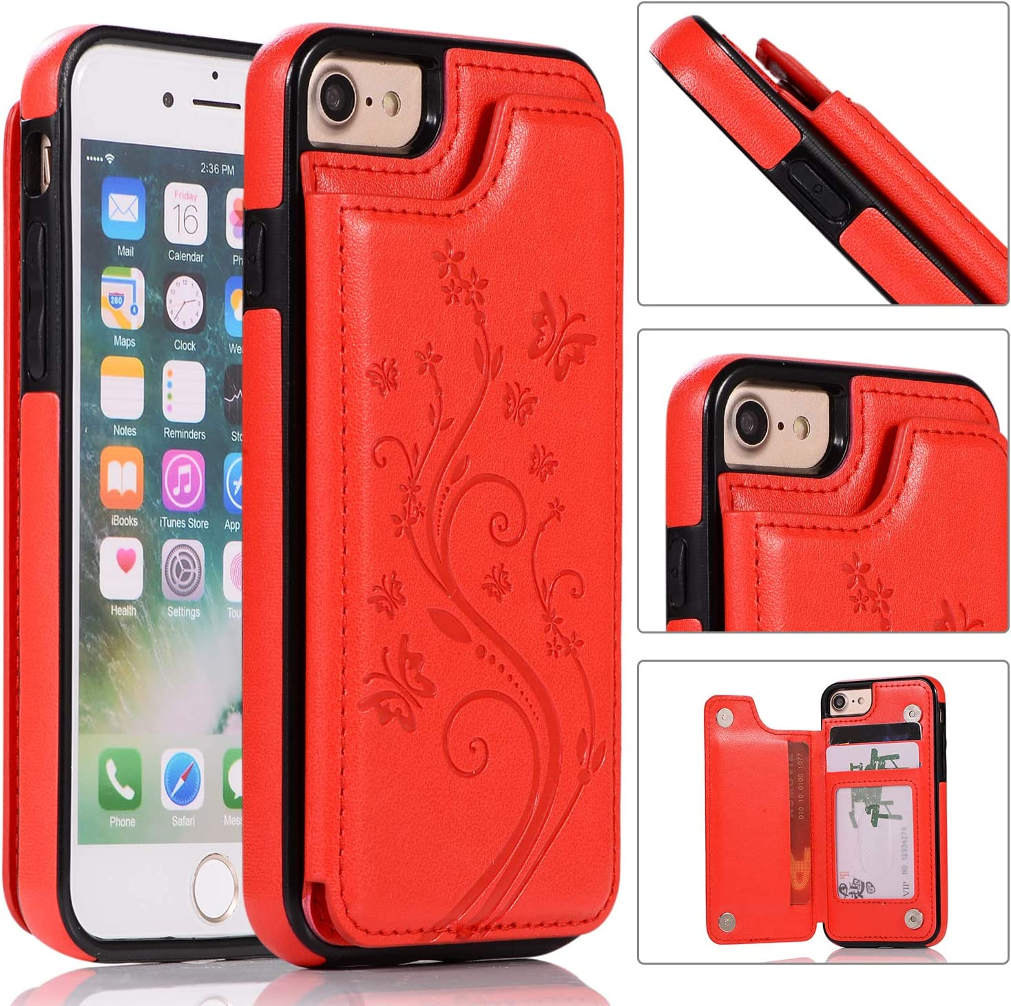Back Wallet Case for iPhone 7 OFFicial store 8 Embosse Max 85% OFF with QFFUN Stand Elegant