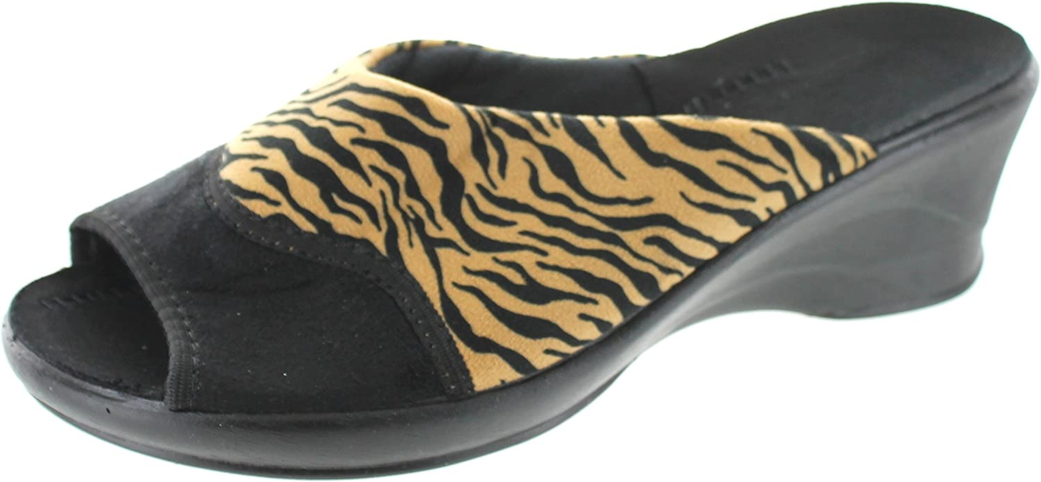 Sc Home Collection Womens Open Toe Animal Print Wedge Slippers