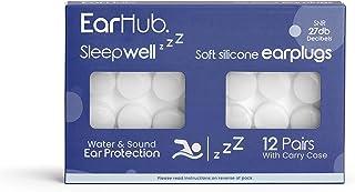 EarHub Sleepwell Soft Premium Silicone Earplugs 12 pairs. Reusable & Custom Fit Silicone Ear plugs. Best used for Sleep. A...