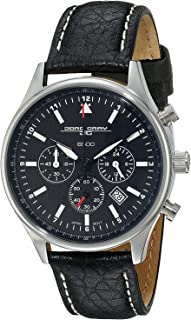 Jorg Gray JG6500-21 Commemorative Round Watch with Black Italian Buffalo Grain Leather Strap with White Stitches