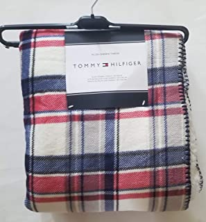 Tommy Hilfiger Plush Sherpa Plaid Throw Blanket Blue Grey Black White and Red Bedding