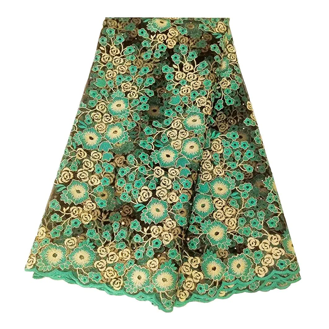 BlueSky 5 Yards/Lot Latest African Nigerian French Lace Fabric Embroidered Beading and Rhinestones for Wedding Party A011 (Green)