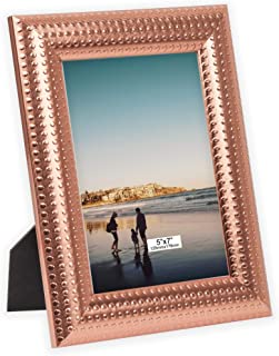 TERESA'S COLLECTIONS 5x7 inch Picture Frame Rose Gold Photo Frame with Acrylic Glass for Hanging Wall Display and Table Decorations (Modern)