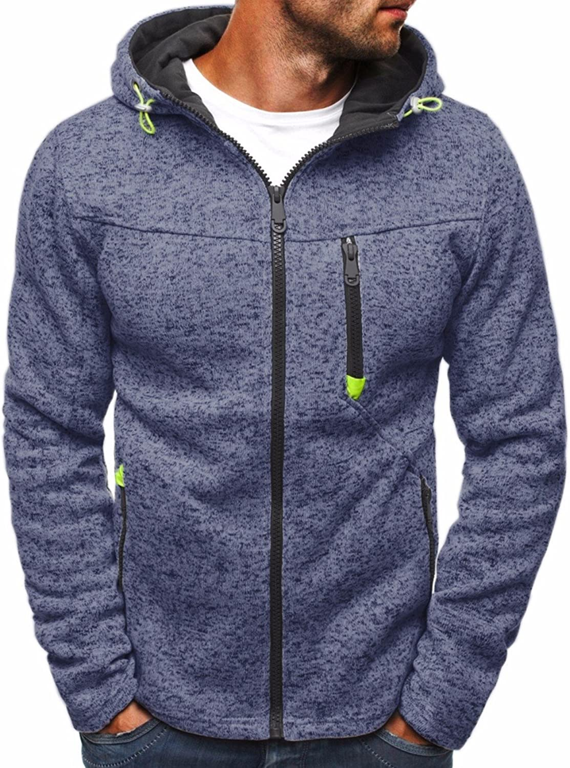 Imagine Men's Autumn Lightweight Fleece Zip Up Hoodies Coat Sweatshirts Jacket with Pocket