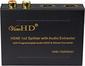 ViewHD 1x2 HDMI Splitter with Integrated Audio Extractor with Optical and RCA L/R Stereo Outputs   VHD-1X2HSACi