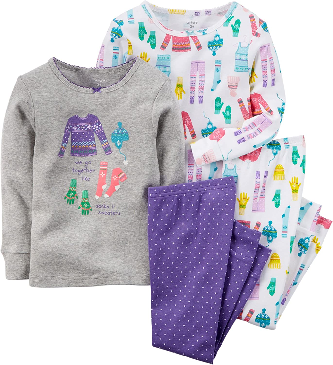 Carter's Baby Girls' 4 Pc. Snug Fit Cotton Pjs Winter Clothes (9M, Grey)