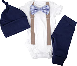 Cuddle Sleep Dream Newborn Boy Coming Home Outfit. Navy & Brown Bow Tie and Suspender Take Home Set