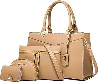 LUOWAN Borse Donna Offerta Borse a Mano Tracolla Pelle PU Shopper Borse a Spalla Borse Tote Borsa Donna Grande 4 Pezzi Tote