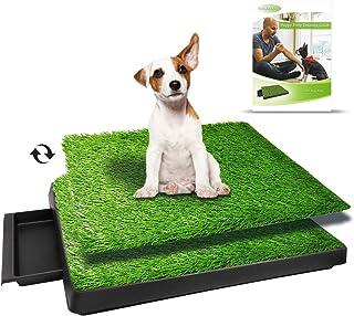 """TUOKEOGO Dog Grass Pad with Tray, Puppy Potty Training Grass, Indoor Dog Potty with Training Guide-Medium Small Dog-25""""x20"""""""