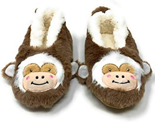 Funny Fluffy Animal Womens Sherpa Slippers (M, Let's Monkey)