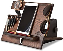 Wood Phone Docking Station Oak Hooks Key Holder Wallet Stand Watch Organizer Men Gift Husband Wife Anniversary Dad Birthday Nightstand Purse Tablet Father Graduation Male Travel Idea Gadgets