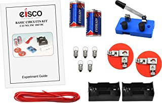 Eisco Labs Basic Beginner Circuit Kit for Teaching Series and Parallel Circuits- Switch, (2) 'D' Batteries w/Holders, (2) Light Holders, (5) Bulbs, Bulk Wire
