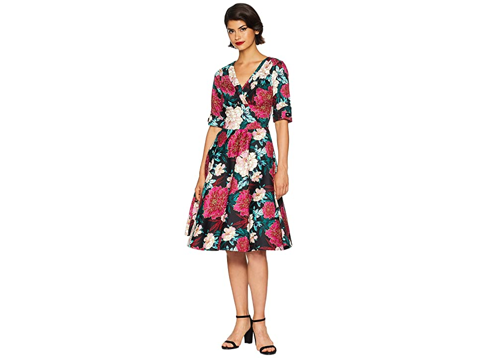 Unique Vintage 3/4 Sleeve Delores Swing Dress (Black/Pink Carnation Print) Women