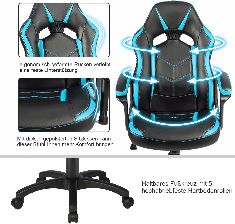 rojo//azul /silla giratoria de piel sint/ética merax/® Escritorio Silla Racing silla Gaming silla/ negro