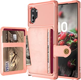 FAIRYCASE Galaxy Note 10+ Case/Note 10 Plus 5G Wallet Case Car Magnetic Button Wallet Card Holder Standing Function Back Shell for Galaxy note10+ 6.8 inch,Color Pink