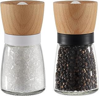 Vevouk Houten zout en peper molen, houten tafel zout molen Shaker, zwart-wit kleur zeezout slijpmachines voor koken, keuke...