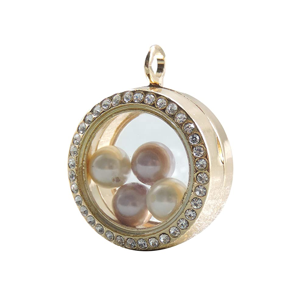2pcs Crystal Magnetic Round Floating Memory Locket Pendant Pearl Cage Stainless Steel Toughened Glass Phase Box Pendant 30mm (Gold)