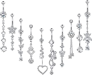 Thunaraz 10PCS 14G Belly Button Rings Silver Rose Gold Stainless Steel Navel CZ Inlaid Body Piercing Jewelry