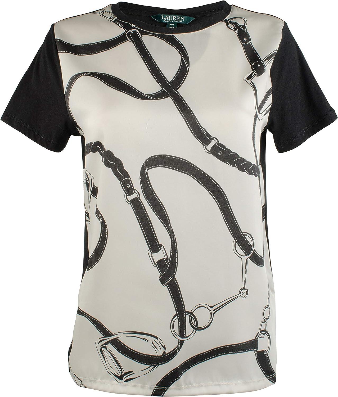 Lauren Ralph Lauren Women's Petite Stirrup Belt Print Shirt