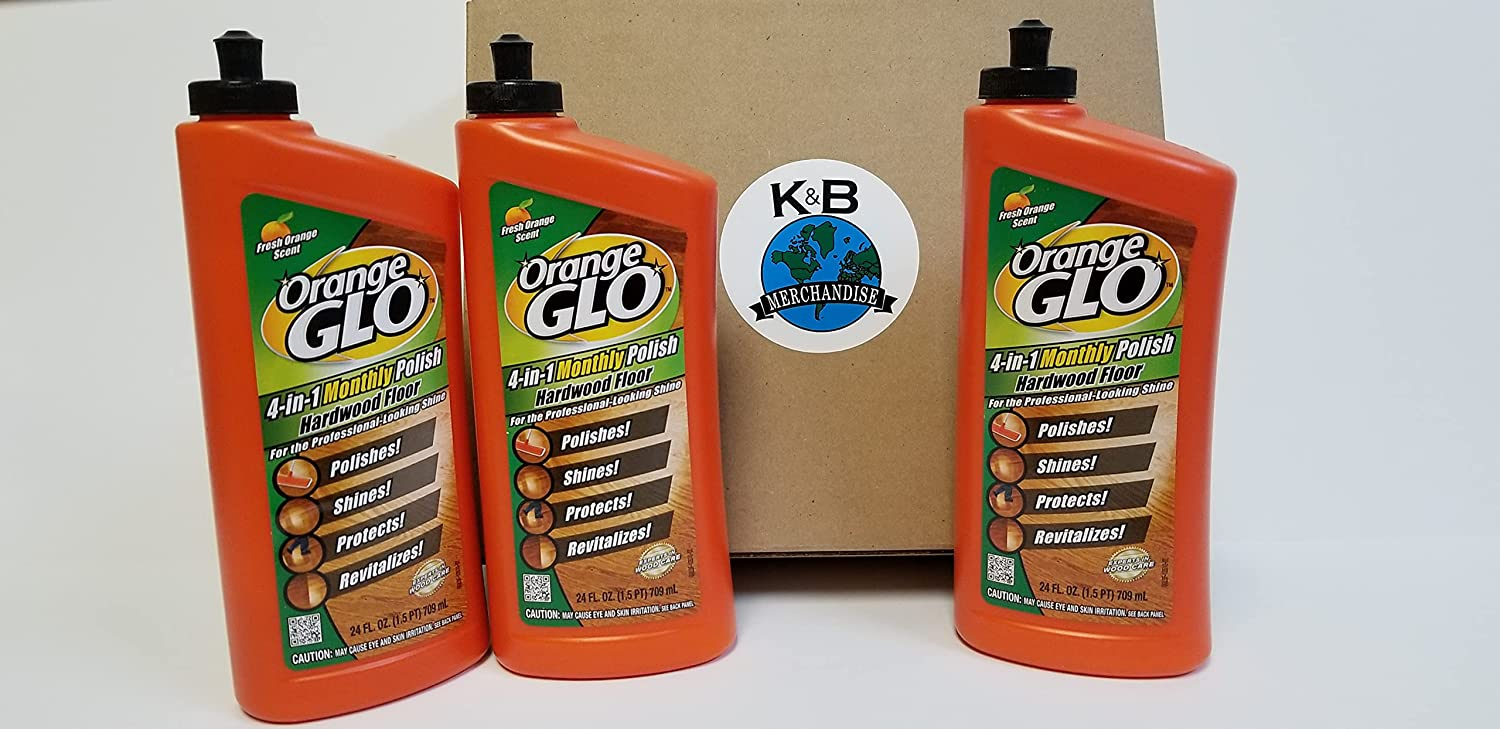 Orange Glo Hardwood Floor Polish Cleaner 4-in-1 Monthly Fresh Orange Scent, 24.0 fluid ounces (3 Pack) Cleans Shines Protects and Revitalizes Woodcare for Porches Decks Furniture Home and Business. Packed in K&B Merchandise Sturdy Box