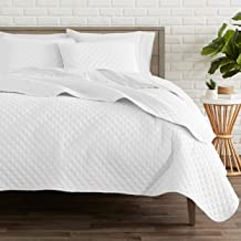 Bare Home Premium 3 Piece Coverlet Set - Full/Queen Size - Diamond Stitched - Ultra-Soft Luxurious Lightweight All Season Bedspread (Full/Queen, White)