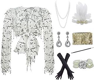 YENMILL 1920s Gatsby Plus Long Sleeve Cocktail Flapper Dress w/ 20s Accessories Set