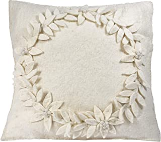 ARCADIA HOME Hand Felted Wool - Wreath Christmas Pillow Cover, 20