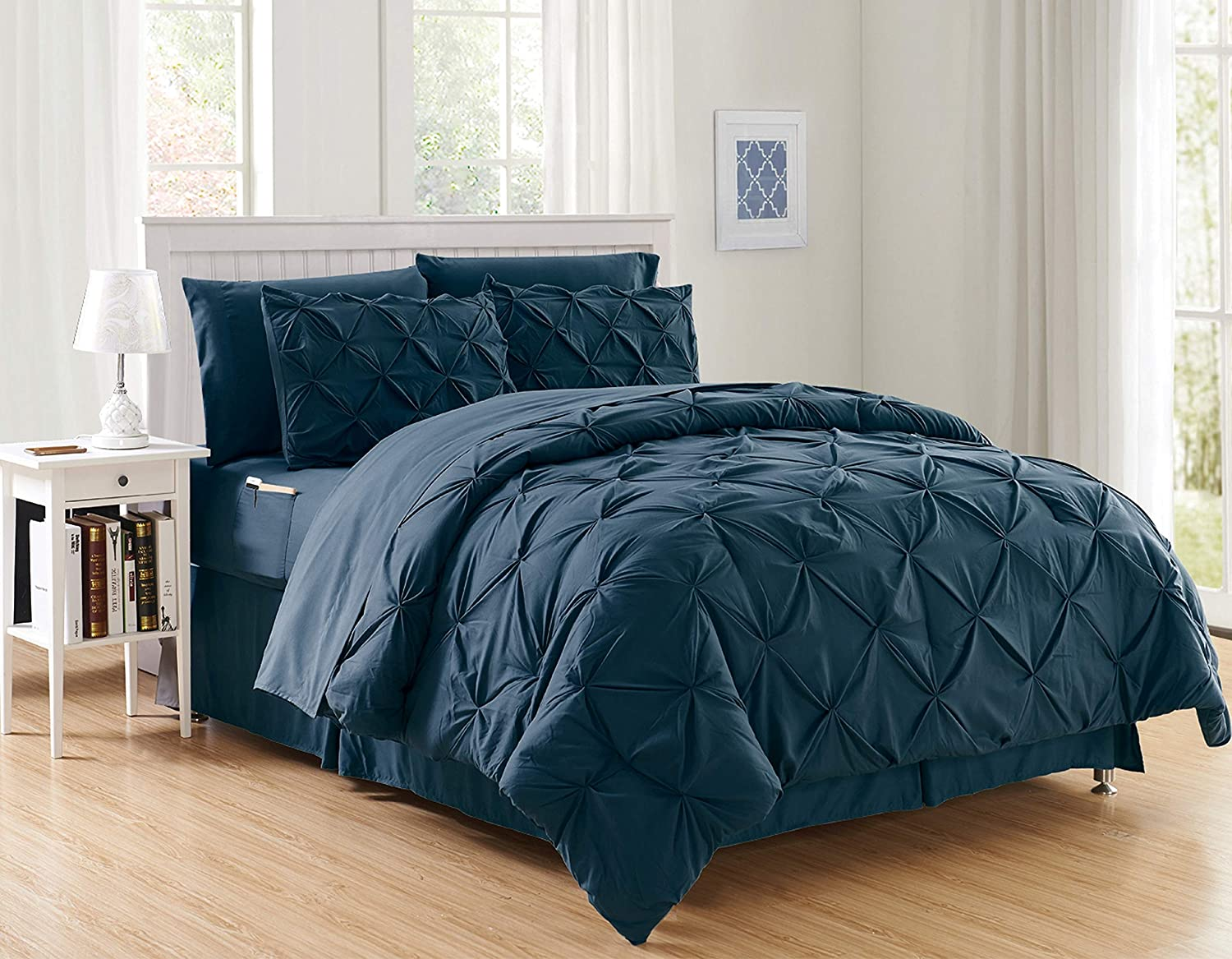 Luxury Best, Softest, Coziest 8-Piece Bed-in-a-Bag Comforter Set on ! Elegant Comfort - Silky Soft Complete Set Includes Bed Sheet Set with Double Sided Storage Pockets, King/Cal King, Navy : Home & Kitchen