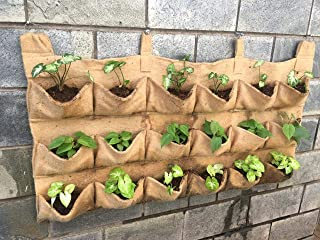 BIO BLOOMS AGRO INDIA PRIVATE LIMITED Vertical Garden Planter Container Bag Made of Jute, Wall Hanging Planter,Set of 10 p...