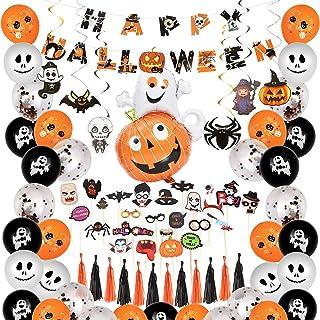 Molbory Halloween Décorations Ballons, 67 Pack Kit en Latex Ballons Halloween, Ballon Pom Fleurs, Gland bannière Papier Gl...