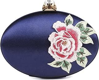 Damara Womens Embroidery Evening Bag Oval Mental Clutch,Navy Blue