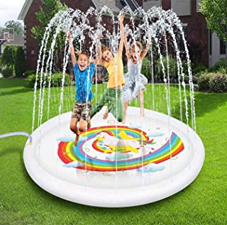 Geefuun Unicorn Sprinkler Pad Splash Play Mat - Inflatable Outdoor Pool Party Supplies Water Toys for Kids Toddlers 67 inches