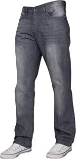 ENZO Mens Regular Fit Straight Fit Denim Blue Jeans Pants All Waist Leg Sizes